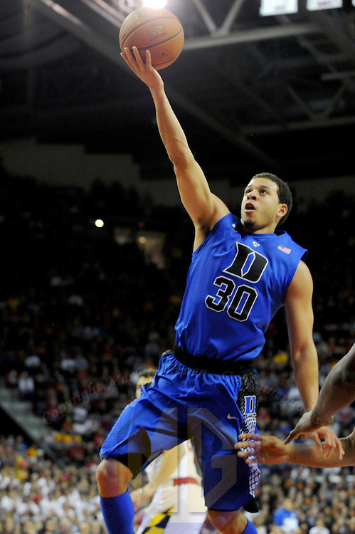 16 February 2013:   Duke Blue Devils guard Seth Curry (30) in action against the Maryland Terrapins at the Comcast Center in College Park, MD. where the Maryland Terrapins upset the second ranked Duke Blue Devils, 83-81.