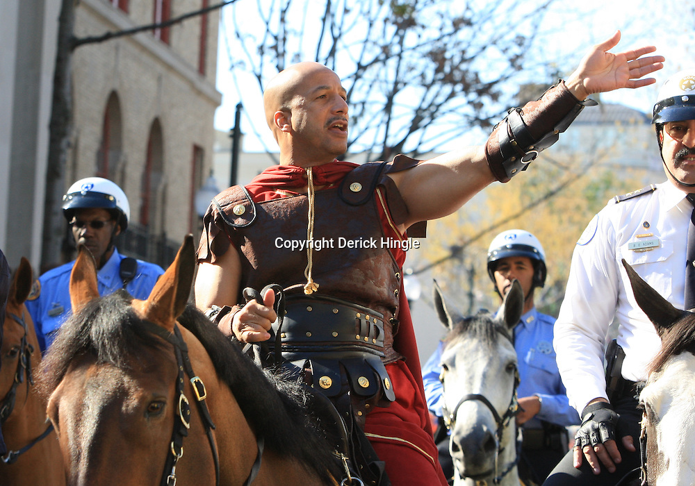 24 February 2009: New Orleans Mayor Ray Nagin dressed as a recovery gladiator rides horseback on St. Charles Avenue prior to the Zulu and Rex parades on Mardi Gras day in New Orleans, Louisiana. Mardi Gras is an annual celebration that ends at midnight with the start of the Catholic Lenten season which begins with Ash Wednesday and ends with Easter..