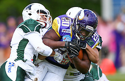 17.05.2015, Hohe Warte, Wien, AUT, BIG6, AFC Vienna Vikings vs Schwaebisch Hall Unicorns, im Bild Nathaniel Morris (Schwaebisch Hall Unicorns, #3), Islaam Amadu (AFC Vienna Vikings, RB, #20) und Jason Whitted (Schwaebisch Hall Unicorns) // during the BIG6 game between AFC Vienna Vikings vs Schwaebisch Hall Unicorns at the Hohe Warte, Wien, Austria on 2015/05/17. EXPA Pictures © 2015, PhotoCredit: EXPA/ Thomas Haumer