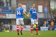 Portsmouth Forward, Curtis Main (14) and Portsmouth Midfielder, Carl Baker (7) during the EFL Sky Bet League 2 match between Portsmouth and Crawley Town at Fratton Park, Portsmouth, England on 3 September 2016. Photo by Adam Rivers.