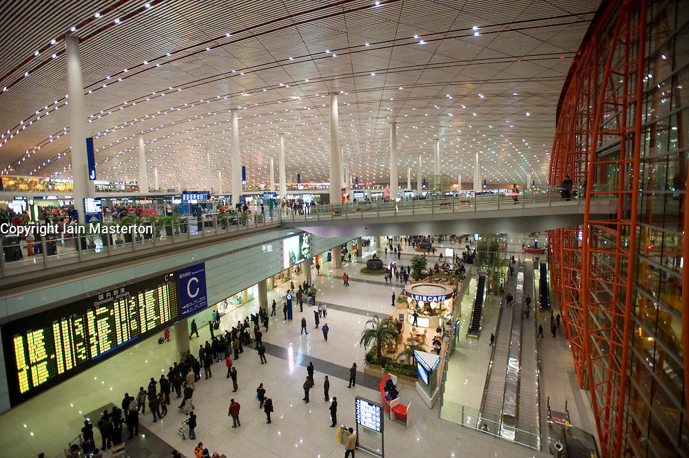 Interior view of new Terminal 3 at Beijing International airport in Beijing China