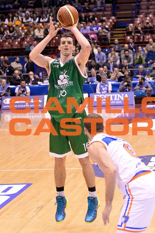 DESCRIZIONE : Milano Coppa Italia Final Eight 2014 Semifinale Montepaschi Siena Enel Brindisi<br /> GIOCATORE : Benjamin Ortner<br /> CATEGORIA : Tiro Three Points<br /> SQUADRA : Montepaschi Siena<br /> EVENTO : Beko Coppa Italia Final Eight 2014<br /> GARA : Montepaschi Siena Enel Brindisi<br /> DATA : 08/02/2014<br /> SPORT : Pallacanestro<br /> AUTORE : Agenzia Ciamillo-Castoria/R.Morgano<br /> Galleria : Lega Basket Final Eight Coppa Italia 2014<br /> Fotonotizia : Milano Coppa Italia Final Eight 2014 Semifinale Montepaschi Siena Enel Brindisi<br /> Predefinita :