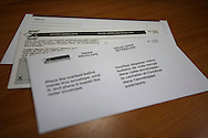 A series of three envelopes to hold the special ballots for mail-in voting for the Canadian federal elections