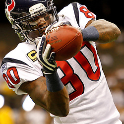 September 25, 2011; New Orleans, LA, USA; Houston Texans wide receiver Andre Johnson (80) prior to kickoff of a game against the New Orleans Saints at the Louisiana Superdome. Mandatory Credit: Derick E. Hingle