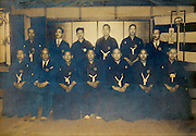 ceremonial group gathering male workers portrait vintage Japan