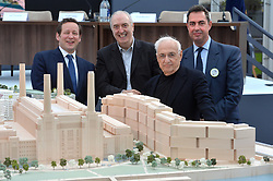 (l-r) Ed Vaizey MP, Grant Brooker (Foster and Partners), Frank Gehry (architect) and Rob Tincknell.<br /> Battersea Power Station Housing Phase 3 Press conference.<br /> Monday the 7th of April 2014. Picture by Ben Stevens / i-Images