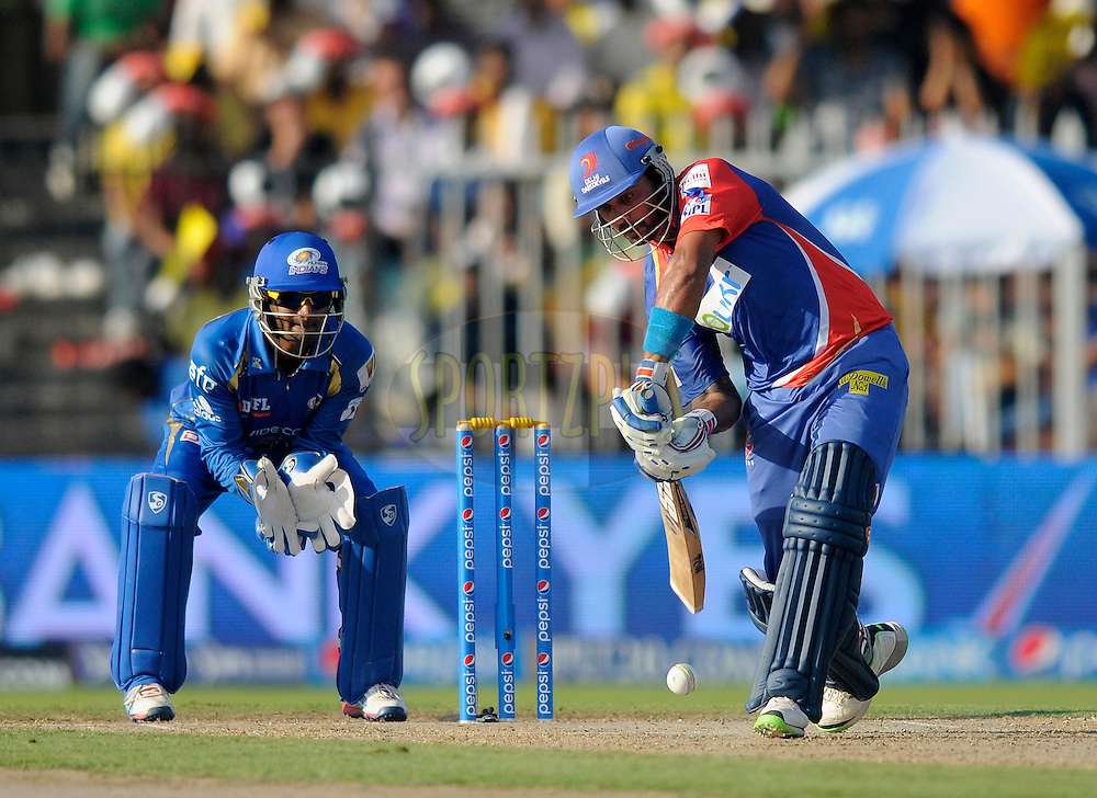 Murali Vijay of the Delhi Daredevils bats during match 16 of the Pepsi Indian Premier League 2014 between the Delhi Daredevils and the Mumbai Indians held at the Sharjah Cricket Stadium, Sharjah, United Arab Emirates on the 27th April 2014<br /> <br /> Photo by Pal Pillai / IPL / SPORTZPICS