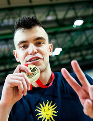 Zan Mark Sisko of Sixt Primorska celebrates after winning during basketball match between KK Sixt Primorska and KK Hopsi Polzela in final of Spar Cup 2018/19, on February 17, 2019 in Arena Bonifika, Koper / Capodistria, Slovenia. KK Sixt Primorska became Slovenian Cup Champion 2019. Photo by Vid Ponikvar / Sportida