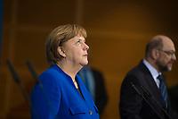 DEU, Deutschland, Germany, Berlin,12.01.2018: Pressekonferenz mit Bundeskanzlerin Dr. Angela Merkel (CDU) und SPD-Chef Martin Schulz (SPD) nach Abschluss der Sondierungsgespräche zwischen CDU/CSU und SPD im Willy-Brandt-Haus.