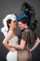 The Animal Ball..This years Animal Ball which brings the glamour and splendour of a masked soiree to the heart of London will benefit the charity Elephant Family with masks created by the likes of Christian Lacroix, Mario Testino and Swarovski. Pic Shows Natalie Ellner wearing her creation 'Lady Peacock' and Lucy Franks wearing Snow Fox by natalie Ellner. The masks will be on show at Sotheby's until May 15th, London, UK, May 10, 2013. Photo by:  i-Images