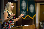 Education student and Founder of the Honors Track Michelle Connavino talks during the College of Education Third Annual Convocation and Welcome held in Morton Hall. Photo By: Joshua Armstrong