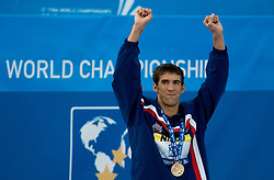 Winner Michael Phelps of USA at the victory ceremony after the Men's  100m Butterfly Final during the 13th FINA World Championships Roma 2009, on August 1, 2009, at the Stadio del Nuoto,  in Foro Italico, Rome, Italy. (Photo by Vid Ponikvar / Sportida)