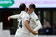 Wicket - Lewis Gregory of Somerset celebrates taking the wicket of Tom Fell of Worcestershire with Tom Abell of Somerset during the Specsavers County Champ Div 1 match between Somerset County Cricket Club and Worcestershire County Cricket Club at the Cooper Associates County Ground, Taunton, United Kingdom on 22 April 2018. Picture by Graham Hunt.
