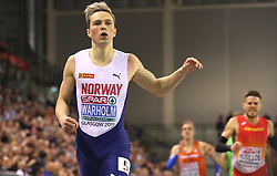 Norway's Karsten Warholm wins the Men's 400m Final during day two of the European Indoor Athletics Championships at the Emirates Arena, Glasgow.