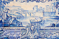 Portugal, Lisbonne, quartier de l'Alfama, monastère de Saint-Vincent de Fora ou Igreja de São Vicente de Fora, azulejos  // Portugal, Lisbon, Alfama, St Vincent de Fora monastery, Igreja de São Vicente de Fora, Historical azulejos, the blue-glazed ceramic tile, famous in the area