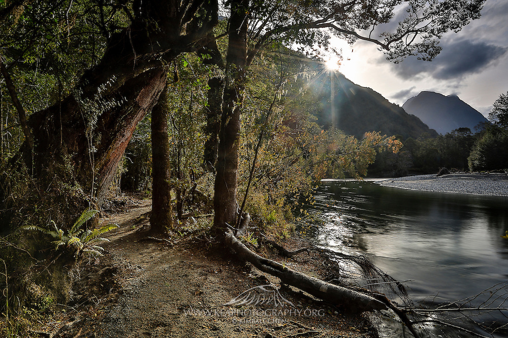 The Milford Track follows the banks of the Clinton River, from the northern end of Lake Te Anau up to the foot of the Mackinnon Pass.