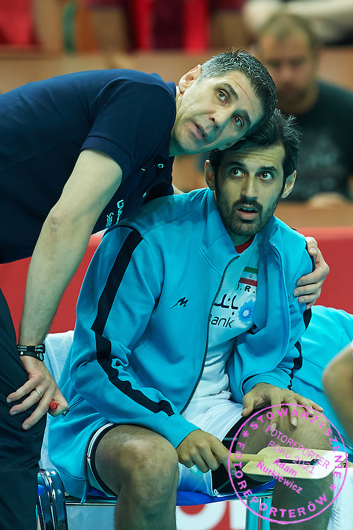 Iran's trainer coach Slobodan Kovac speaks with his player Mir Saeid Marouflakrani (right) while volleyball match between Germany and Iran during the 2014 FIVB Volleyball World Championships at Spodek Hall in Katowice on September 17, 2014.<br /> <br /> Poland, Katowice, September 17, 2014<br /> <br /> For editorial use only. Any commercial or promotional use requires permission.<br /> <br /> Mandatory credit:<br /> Photo by &copy; Adam Nurkiewicz / Mediasport