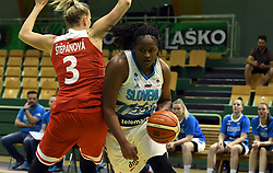 Shante Marie Evans dribbles during friendly basketball match between Women teams of Slovenia and Czech Republic before EuroBasket Serbia 2019, on May 31st, 2019 in Arena Tri Lilije, Lasko, Slovenia. Photo by Milos Vujinovic / Sportida