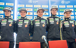 Ursa Bogataj, Ema Klinec, Maja Vtic, Katja Pozun and Spela Rogelj during press conference of Slovenian Ski jumping Women team before new season 2015/16, on December 1, 2015 in Cristal palace, BTC, Ljubljana, Slovenia. Photo by Vid Ponikvar / Sportida