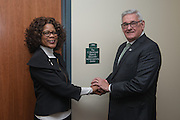Daniel DeLawder shakes hands with Dean Renee Middleton beside the new Active Learning Center on the third floor of the newly renovated McCracken Hall on January 27, 2017.