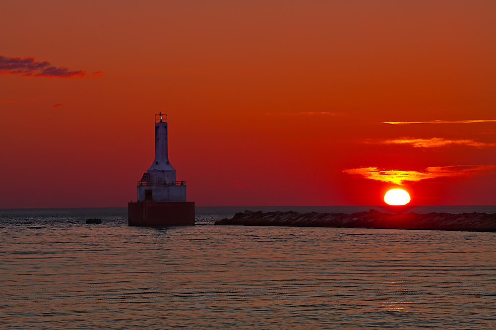 Keewenaw Waterway Lighthouse from Mcclain State Park at Sunset
