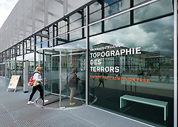 Entrance to Topography of Terror exhibition museum former Gestapo headquarters in Berlin Germany