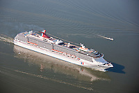 Aerial photo of Carnival Cruise Line ship Pride navigating Baltimore water