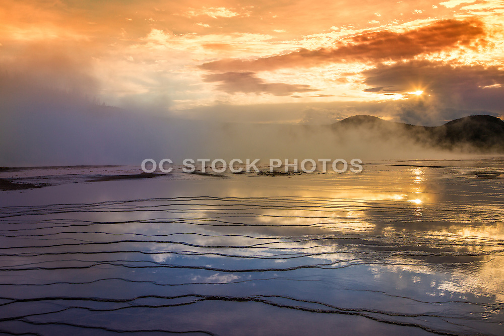 Grand Prismatic Spring at Sunset in Yellowstone National Park