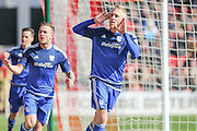 Cardiff City striker, Lex Immers (27) celebrates his goal 1-0  during the Sky Bet Championship match between Bristol City and Cardiff City at Ashton Gate, Bristol, England on 5 March 2016. Photo by Shane Healey.