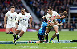 26 February 2017 : 6 Nations Rugby : England v Italy :<br /> Ben Youngs of England is held up and looks for his supporting colleagues.<br /> Photo: Mark Leech