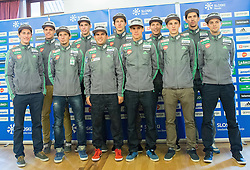 Peter Prevc, Matjaz Pungertar, Robert Kranjec, Anze Semenic, Jernej Damjan, Nejc Dezman, Rok Justin, Jurij Tepes, Jaka Hvala, Jure Sinkovec and Tomaz Naglic during official presentation of the outfits of the Slovenian Ski Teams before new season 2015/16, on October 6, 2015 in Kulinarika Jezersek, Sora, Slovenia. Photo by Vid Ponikvar / Sportida
