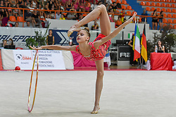 July 28, 2018 - Chieti, Abruzzo, Italy - Junior Rhythmic gymnast Melaniia Tur of Ukraine performs her hoop routine during the Rhythmic Gymnastics pre World Championship Italy-Ukraine-Germany at Palatricalle on 29th of July 2018 in Chieti Italy. (Credit Image: © Franco Romano/NurPhoto via ZUMA Press)