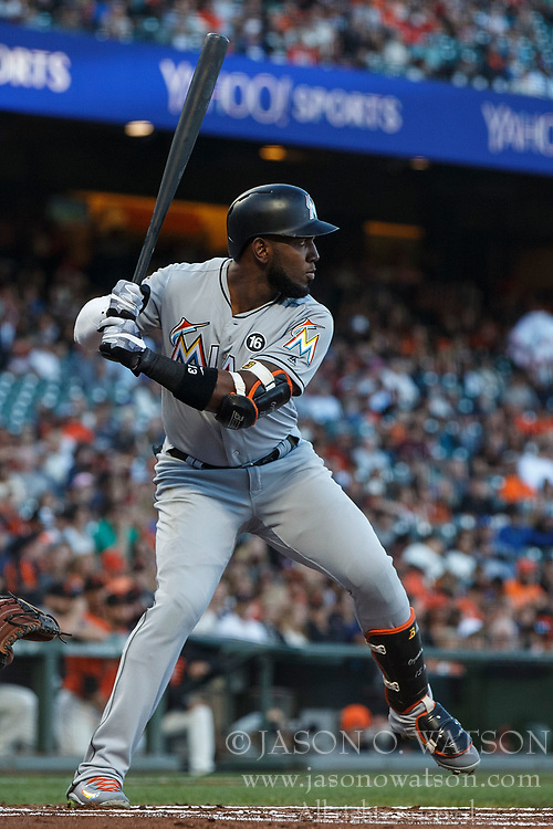 SAN FRANCISCO, CA - JULY 07: Marcell Ozuna #13 of the Miami Marlins at bat against the San Francisco Giants during the first inning at AT&T Park on July 7, 2017 in San Francisco, California. The Miami Marlins defeated the San Francisco Giants 6-1. (Photo by Jason O. Watson/Getty Images) *** Local Caption *** Marcell Ozuna
