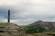 Anaconda Smoke Stack State Park, 585 ft tall, tallest free standing masonry structure in World, Washington Monument could fit inside, Anaconda Copper Mining Company, Anaconda, Montana