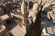 Egypt . Cairo : minaret of BARQUQ mosque. An NASR mohamad minaret , in Al Mu'izz Street, bayn Al KASRAYN area. the old islamic city,  view from the minaret of the madrasa and mausoleum An NASIR Muhammad Ibn QALAWUN . Cairo