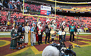 Nov 18, 2018; Landover, MD, USA; The Blackfeet Nation Tribal Singers perform before an NFL game between the Houston Texans and the Washington Redskins at FedEx Field. The Texans beat the Redskins 23-21. (Steve Jacobson/Image of Sport)