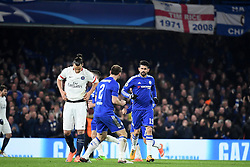 09.03.2016, Stamford Bridge, London, ENG, UEFA CL, FC Chelsea vs Paris Saint Germain, Achtelfinale, Rueckspiel, im Bild ibrahimovic zlatan, ivanovic branislav, diego costa // during the UEFA Champions League Round of 16, 2nd Leg match between FC Chelsea vs Paris Saint Germain at the Stamford Bridge in London, Great Britain on 2016/03/09. EXPA Pictures © 2016, PhotoCredit: EXPA/ Pressesports/ LAHALLE PIERRE<br /> <br /> *****ATTENTION - for AUT, SLO, CRO, SRB, BIH, MAZ, POL only*****