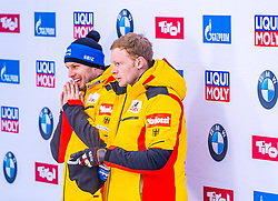 18.01.2020, Olympia Eiskanal, Innsbruck, AUT, BMW IBSF Weltcup Bob und Skeleton, Igls, Bob Zweisitzer, Herren 2. Lauf, im Bild Nico Walther, Malte Schwenzfeier (GER) // Nico Walther Malte Schwenzfeier of Germany reacts after his 2nd run of men's doubles Bobsleigh of BMW IBSF World Cup at the Olympia Eiskanal in Innsbruck, Austria on 2020/01/18. EXPA Pictures © 2020, PhotoCredit: EXPA/ Stefan Adelsberger