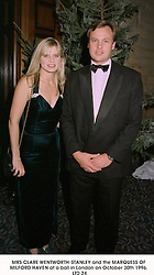 MRS CLARE WENTWORTH-STANLEY and the MARQUESS OF MILFORD HAVEN at a ball in London on October 30th 1996.LTD 24