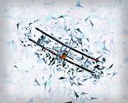 Digitally enhanced image of a biplane in flight