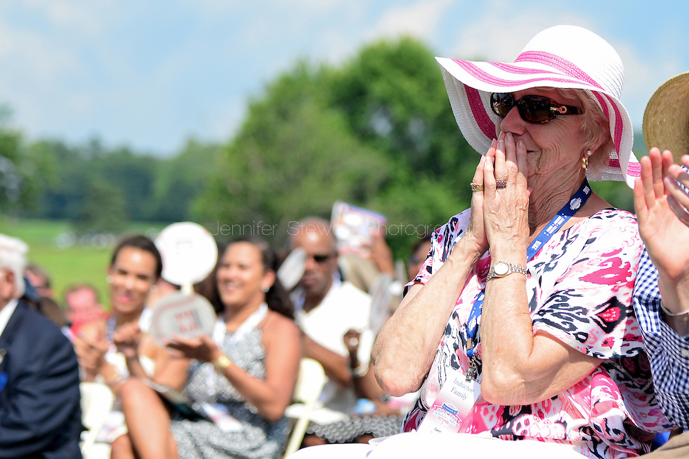 COOPERSTOWN, NY - JULY 26: Carol, mother to Hall of Fame inductee Randy Johnson, reacts during Johnson's speech at the Induction Ceremony at National Baseball of Hall of Fame on July 26, 2015 in Cooperstown, New York. (Photo by Jennifer Stewart/Arizona Diamondbacks/Getty Images)