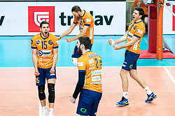 Vilimanovic Andrija of ACH Volley with Pokersnik Jan of ACH Volley and Puric Diko of ACH Volley during volleyball match between ACH Volley Ljubljana (SLO) and Kuzbas Kemerevo (RUS) n 2nd Round, group B of 2019 CEV Volleyball Champions League, on December 11, 2019 in Hala Tivoli, Ljubljana, Slovenia. Grega Valancic / Sportida