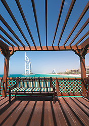 Framed view of Burj Al Arab hotel and beach resorts in Dubai United Arab Emirates