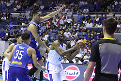 November 27, 2017 - Quezon City, NCR, Philippines - Quincy Davis (50) of Chinese Taipei tries to shoot the ball over Japeth Aguilar (25) of the Philippines during their FIBA World Cup Qualifiers Match..Gilas Pilipinas defeated the visiting Chinese Taipei team 90-83 to complete a sweep of their first two assignments in the FIBA 2019 World Cup qualifiers. (Credit Image: © Dennis Jerome S. Acosta/Pacific Press via ZUMA Wire)