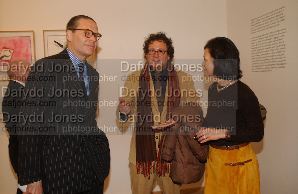 Andrew Fabricant, Ivan Wirth and Laura Paulson. Martin Kippenberger, Tate Modern. 7 Febriuary 2006. -DO NOT ARCHIVE-© Copyright Photograph by Dafydd Jones 66 Stockwell Park Rd. London SW9 0DA Tel 020 7733 0108 www.dafjones.com
