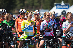 Kendall Ryan (USA) of Tibco-Silicon Valley Bank Cycling Team and her sister, Alexis Ryan (USA) of CANYON//SRAM Racing listen to the National Anthem on Stage 2 of the Amgen Tour of California - a 108 km road race, starting and finishing in South Lake Tahoe on May 18, 2018, in California, United States. (Photo by Balint Hamvas/Velofocus.com)
