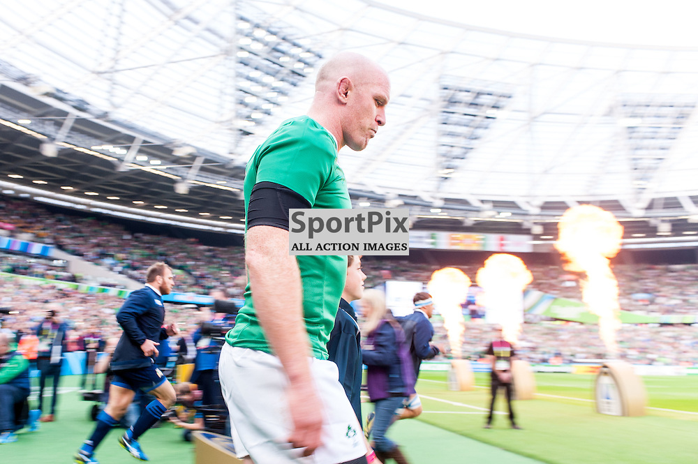 Paul O'Connell captain of Ireland leads his team out. Action from the Ireland v Italy pool game at the 2015 Rugby World Cup at Queen Elizabeth Stadium in London, 4 October 2015. (c) Paul J Roberts / Sportpix.org.uk