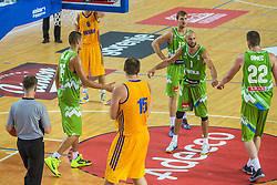 Nebojsa Joksimovic, Zoran Dragic of Slovenia during friendly basketball match between National teams of Slovenia and Ukraineat day 1 of Adecco Cup 2015, on August 21 in Koper, Slovenia. Photo by Grega Valancic / Sportida