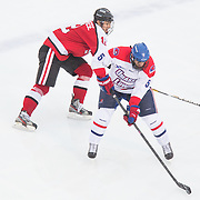 Joe Gambardella #5 of the UMass Lowell Riverhawks and Zach Aston-Reese #12 of the Northeastern Huskies in action during the Frozen Fenway game between The Northeastern Huskies and The UMass Lowell Riverhawks at Fenway Park on January 11, 2014 in Boston, Massachusetts.
