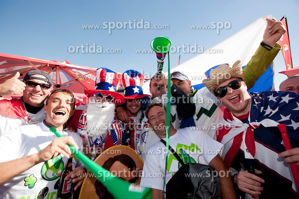 Slovenian and USA  fans enjoy the atmosphere ahead of the 2010 FIFA World Cup South Africa Group C match between Slovenia and USA at Ellis Park Stadium on June 18, 2010 in Johannesberg, South Africa. (Photo by Vid Ponikvar / Sportida)